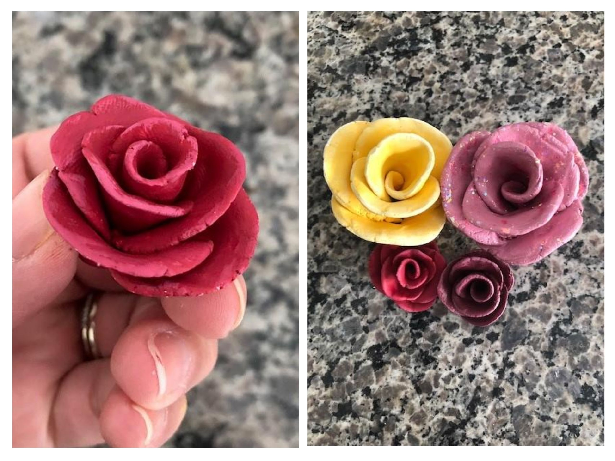 clay-roses-painted